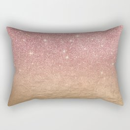 Rose Gold Glitter Crumbled Foil Ombre Gradient Rectangular Pillow