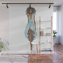 GIRL - Negress Lady In TURQUOISE - watercolor Wall Mural