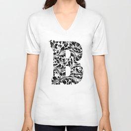 Letter B, Initial Monogram, black and white floral pattern Unisex V-Neck