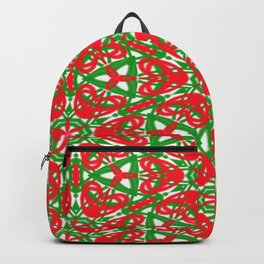 Red, Green and White Kaleidoscope 3375 Backpack