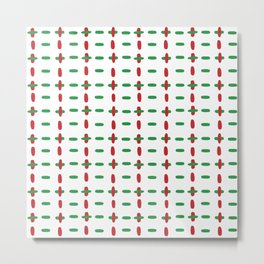 Christmas vector red and green horizontal and vertical stitches aligned on white background seamless Metal Print
