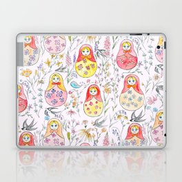 Russian dolls and flowers_ink and watercolor 3 Laptop & iPad Skin