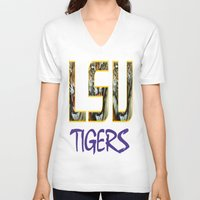 decal V-neck T-shirts featuring LSU NEW DECAL by The Greedy Fox