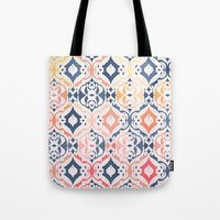 damask Tote Bags featuring Tropical Ikat Damask by micklyn