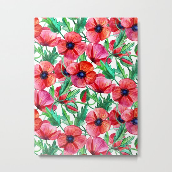 Plenty of Poppies - white Metal Print