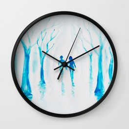 Walking hand in hand in a blue rainy day Wall Clock