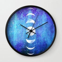 Lunar Cycle // Blue Purple Space Wall Clock