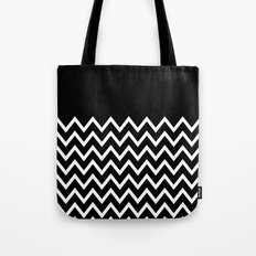 White Chevron On Black Tote Bag