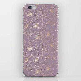 Faux Gold & Mauve Hibiscus iPhone Skin