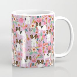 Papillon pet friendly small cute dog breed must have gift for dog lover florals dog pattern print Coffee Mug