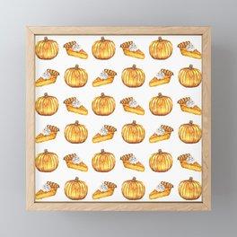 Pumpkin Pie Pattern Fall Watercolor Framed Mini Art Print