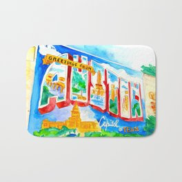 Greetings From Austin Mural watercolor Bath Mat