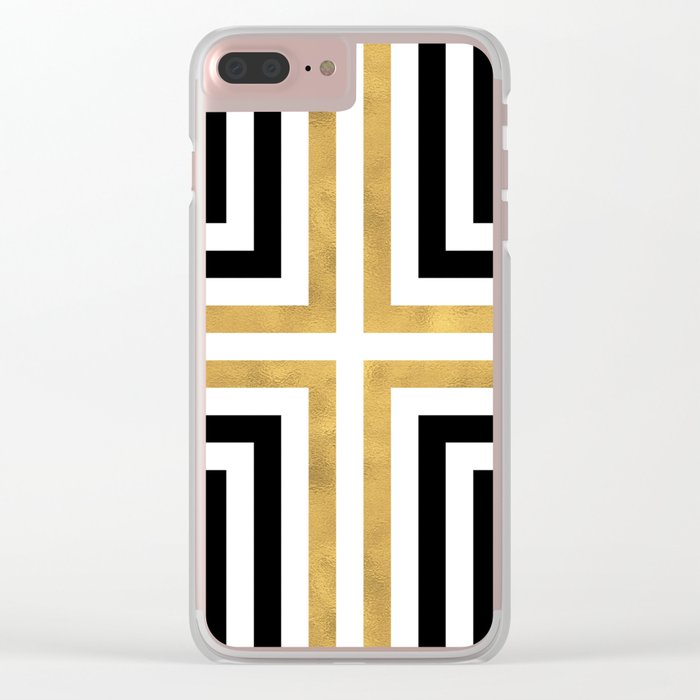 Simple Geometric Cross Pattern- White Gold on Black -Mix & Match with Simplicity of life Clear iPhone Case