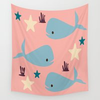 the whale Wall Tapestries featuring Whale by BruxaMagica