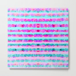 Painted Purple Party Stripes - with pink, teal, mint & aqua Metal Print