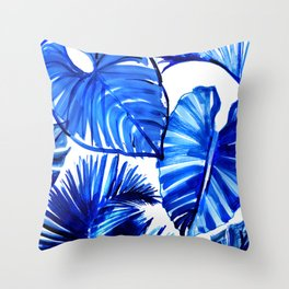 Bright Blue Jungle Leaves Throw Pillow