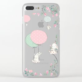 Cute flying Bunny with Balloon and Flower Rabbit Animal on pink floral background Clear iPhone Case