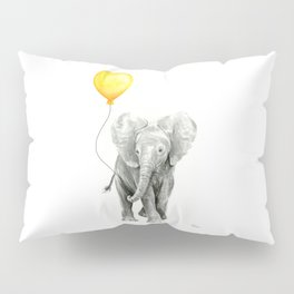 Elephant Watercolor Yellow Balloon Whimsical Baby Animals Pillow Sham