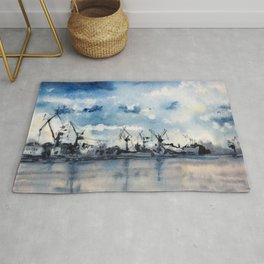 Original Watercolor Landscape of a Stormy Sky over the Gulf of Finland Rug