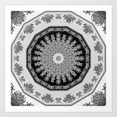 Shades of Grey - Geometric Floral Pattern Art Print
