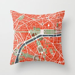 Paris city map classic Throw Pillow
