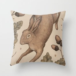 The Hare and Oak Throw Pillow