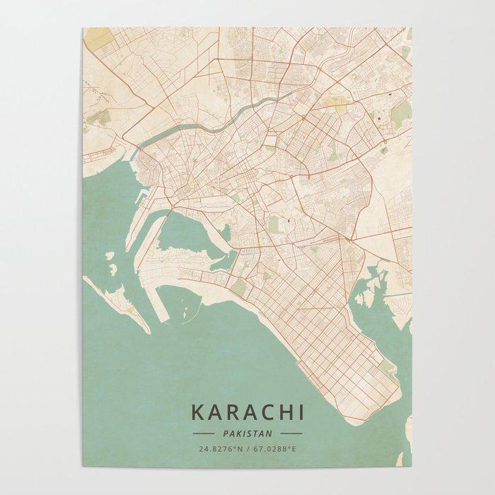 Vintage Map Poster Karachi, Pakistan   Vintage Map Poster by designermapart | Society6
