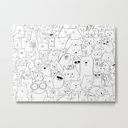 Black and white cat colouring Metal Print