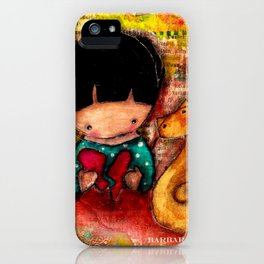 Mend a Broken Heart with Kitty and Girl iPhone Case