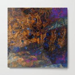 Rusty Brown on Blue Abstract Artwork Metal Print