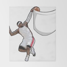 King James dunking in a pocket Throw Blanket