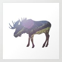 moose Art Prints featuring Moose by Luke Gram