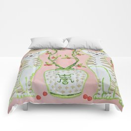 Oriental Staffordshire Cats on Pink Comforters