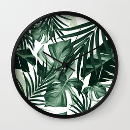 Tropical Jungle Leaves Pattern #4 #tropical #decor #art #society6 Wall Clock
