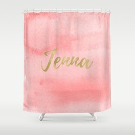 Coral Gold Jenna Shower Curtain