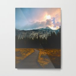 Path leading to Mountain Paradise Mountain Snow Capped Pine trees Tall Grass Sunrise Landscape Metal Print