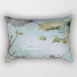 SF, San Francisco, Oakland, Bay Area, California Watercolor Map Art Rectangular Pillow