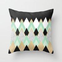 queen Throw Pillows featuring Queen by Elisabeth Fredriksson