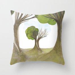 Duality Tree Throw Pillow