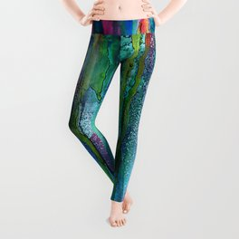 Rainbow Rain - Alcohol Ink Painting Leggings