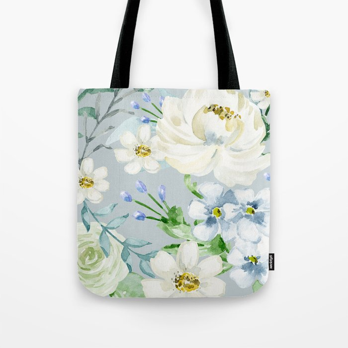 White and Blue Flowers Tote Bag