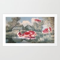 thegnarledbranch Art Prints featuring Meat Migration by TheGnarledBranch
