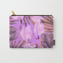 TROPICAL FERNS AND FLOWERS IN SHADES OF pink - lavender and white Carry-All Pouch