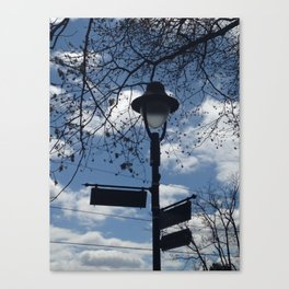 Maplewood - Sign post - blue sky Canvas Print
