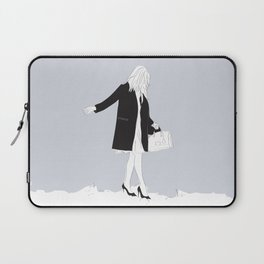 Winter Fashion Girl in the Snow Laptop Sleeve