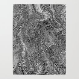 black and white curly line drawing abstract background Poster