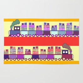 Colorful trains with Christmas gifts Rug