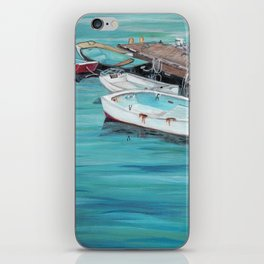 Dinghy Boats Ocean Dock Blue Sea iPhone Skin