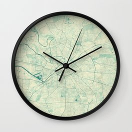 Manchester Map Blue Vintage Wall Clock
