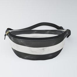 Black and White Marble Stripes Fanny Pack